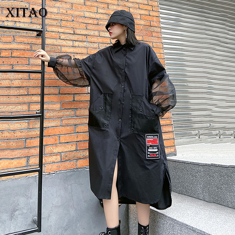 XITAO Streetwear Dresses Mesh Stitching Long Sleeves Dress Women Fashion Plus Size Women Clothes 2020 Spring Autumn New XJ3726