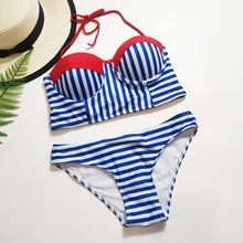 Blue and White Stripes Bikini Sexy Bandeau Push Up Swimsuit 2019 Summer Ladies Padded Halter Swimwear Female Beach Bathing Suit white stripes bodycon swimsuit