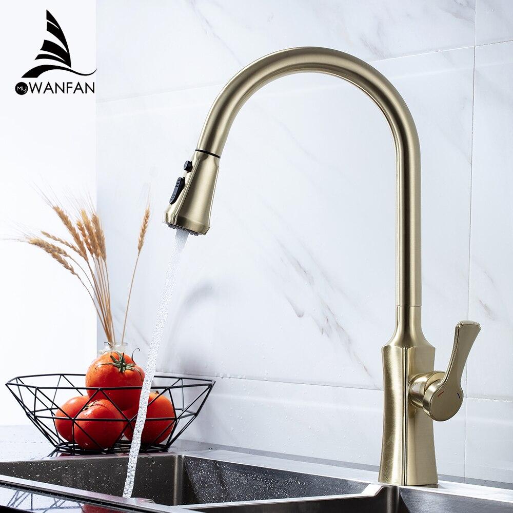 Kitchen Faucets Brushed Gold Torneira Para Cozinha De Parede Crane For Kitchen Water Mixer Tap Black Sink Mixer Faucet 866388J