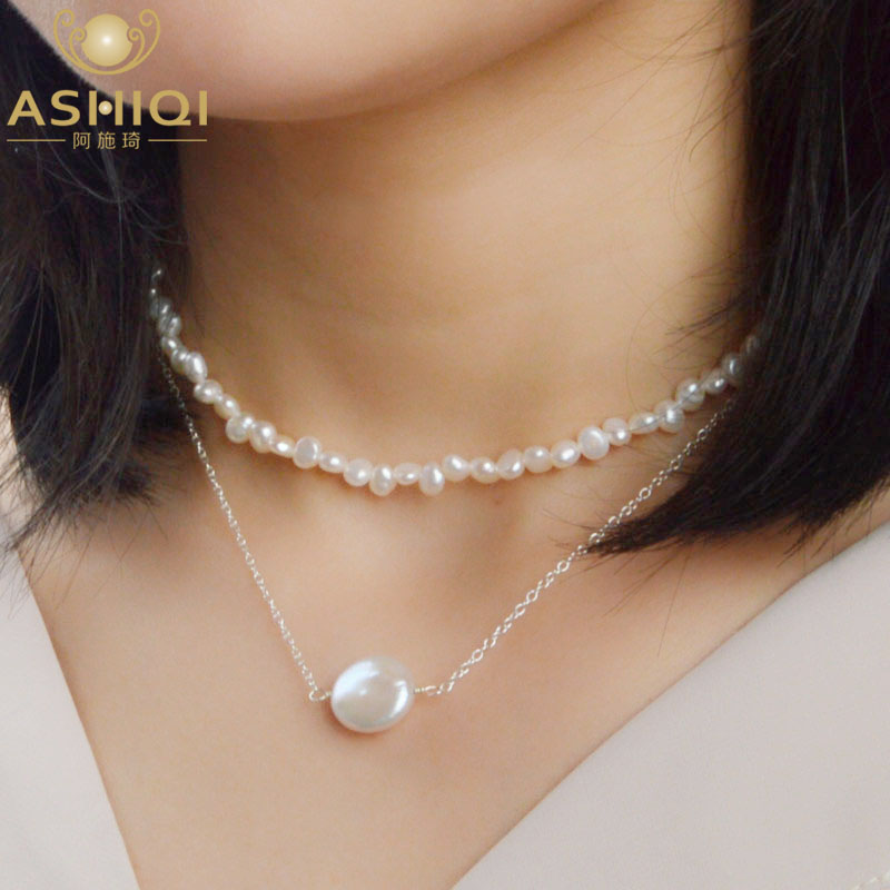 ASHIQI Multi Layer Natural Baroque Pearl Clavicle Chain Jewelry 925 Sterling Silver choker necklace fashion 2019