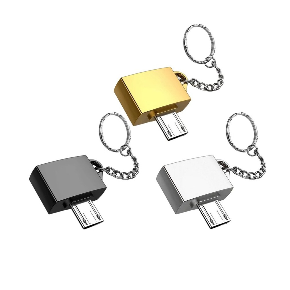 Ultra Potable Metal Type-C/Micro USB To USB 2.0 OTG Adapter For Android Device With Key Chain Ring Holder Simple Design Dropship
