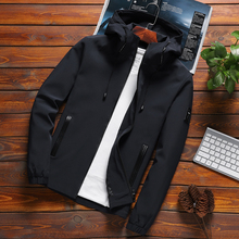M-8XL Jacket Men New Arrival Casual Solid Hooded Jackets Men