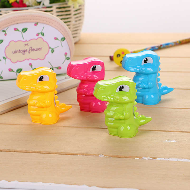 4 Pcs Cartoon Dinosaur Toy Pencil Sharpener Cute Student Manual Pencil Sharpener Creative Learning Stationery Children's Toys