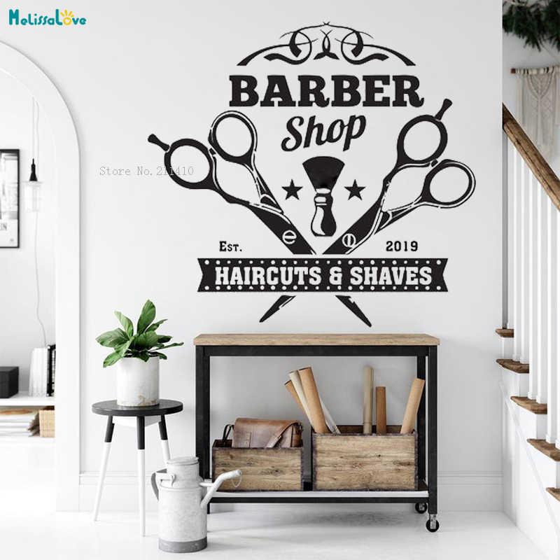 Unique Two Barber Scissors Sign Wall Sticker Barbershop Decor New Design Vinyl Popular Art Removable Murals For Beauty Yt2617 Aliexpress