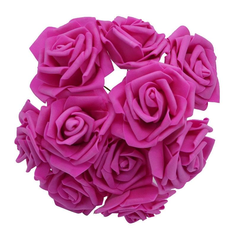 10 шт. 8 см большие ПЭ пенные цветы искусственные розы цветы Свадебные букеты Свадебные украшения для вечеринки DIY Скрапбукинг Ремесло поддельные цветы - Цвет: rose red  no leaf
