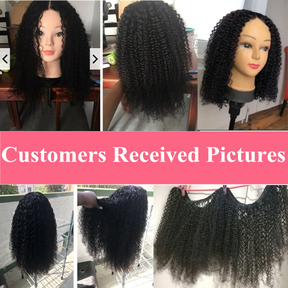 Image 5 - Bling Hair Kinky Curly 3 Bundles with Closure 100% Remy Human Hair Extension Brazilian Hair Weave Bundles with 4*4 Lace Closure-in 3/4 Bundles with Closure from Hair Extensions & Wigs
