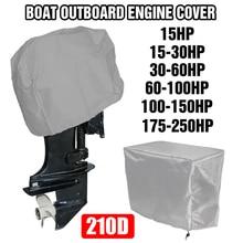 210D Oxford Wasserdichte Volle Außenbordmotor Motor Boot Abdeckung Für Bis zu 15 250HP Schwarz/Silber