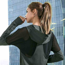 Latest New Mesh Hooded Yoga Sport Jacket Women Anti-sweat Nylon Running Jogger Coat Elastic Fitness Top with Thumb Holes