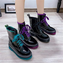 2020 Platform Ankle Boots for Women Fashion Lace Up Thick Bottom Leather Booties Woman Motorcycle Boots Mujer Black Purple Green(China)