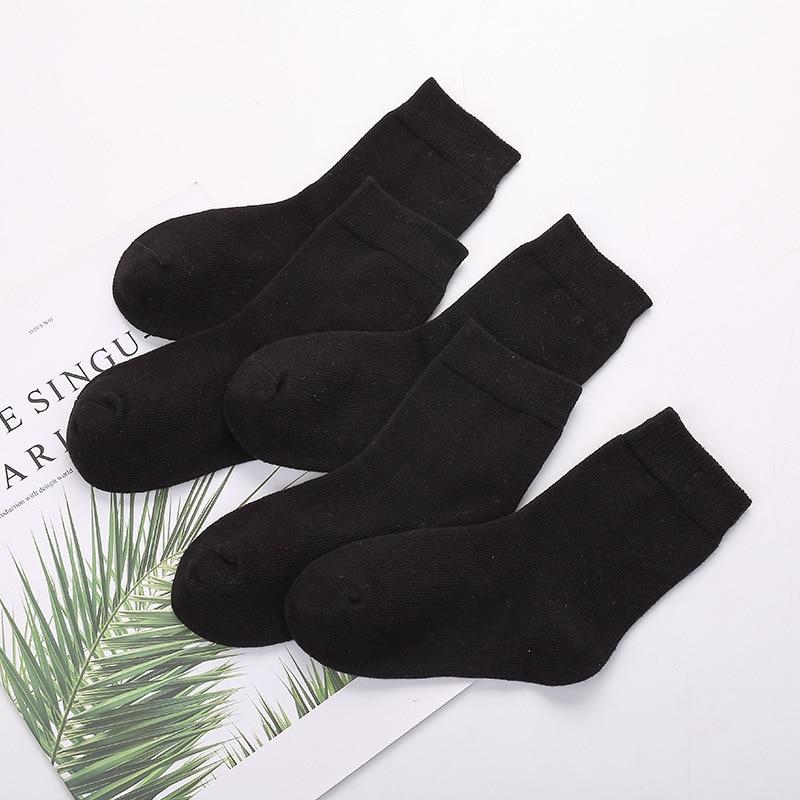 5pairs/lot Soft Cotton Baby Kids Socks White Black Girl Boys Socks Children Footwear Sports Casual Plus Size Teenager 6