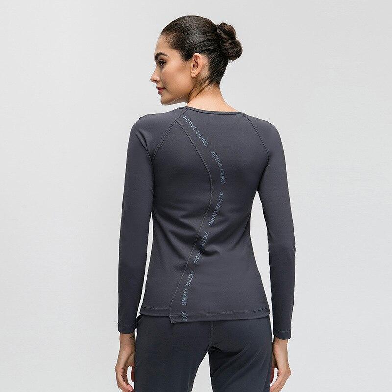 Eshtanga, рубашки для йоги, сексуальная майка, Женская Осенняя Спортивная футболка с длинным рукавом, футболка для фитнеса, спортзала, бега, быст...