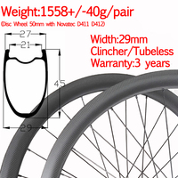 super light width 29mm carbon disc road bike wheel 45mm 3 years warranty good performance tubeless wheelset thru 12*100 12*142