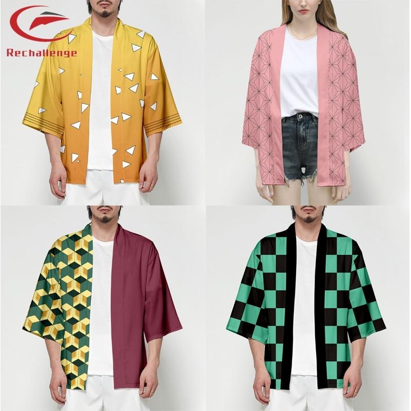 Demon Slayer Kimetsu No Yaiba Kimono 3D Printing Japanese Anime Kimono Haori Yukata Cosplay Women/Men Summer Cool Streetwear