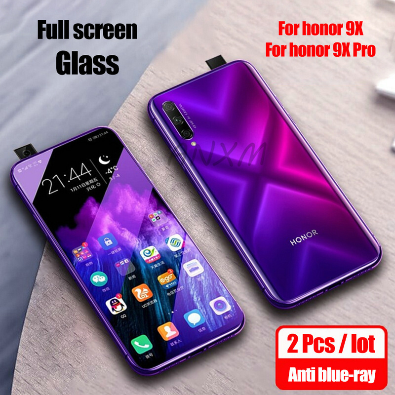 2Pcs Tempered Glass For Huawei Honor 9X Pro 8X Screen Protector Anti Blue-ray Glass For Huawei Honor 8X 9X Pro Protective Film