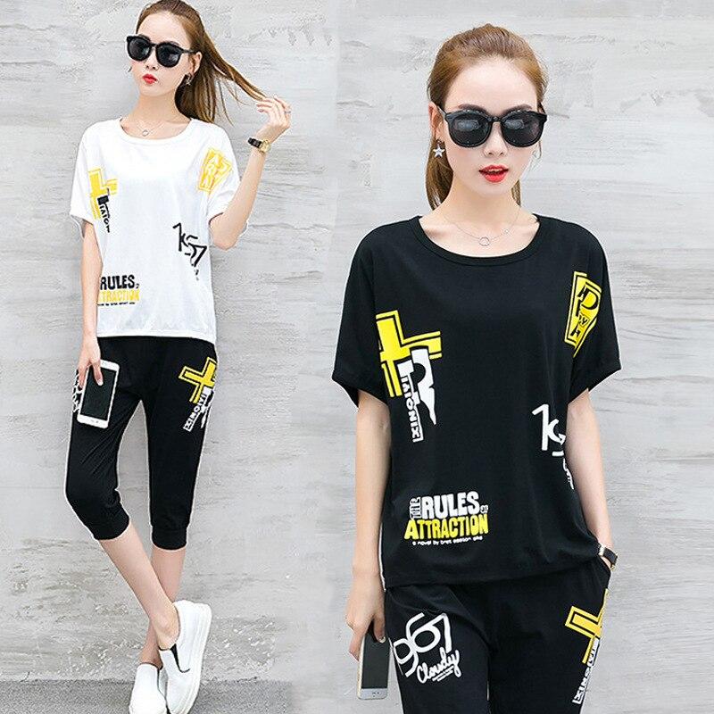 Sports Set-Style Korean-style Summer Wear Two-Piece Set Printing Short-sleeved T-shirt Capri Pants Set 2018 New Style Fashion