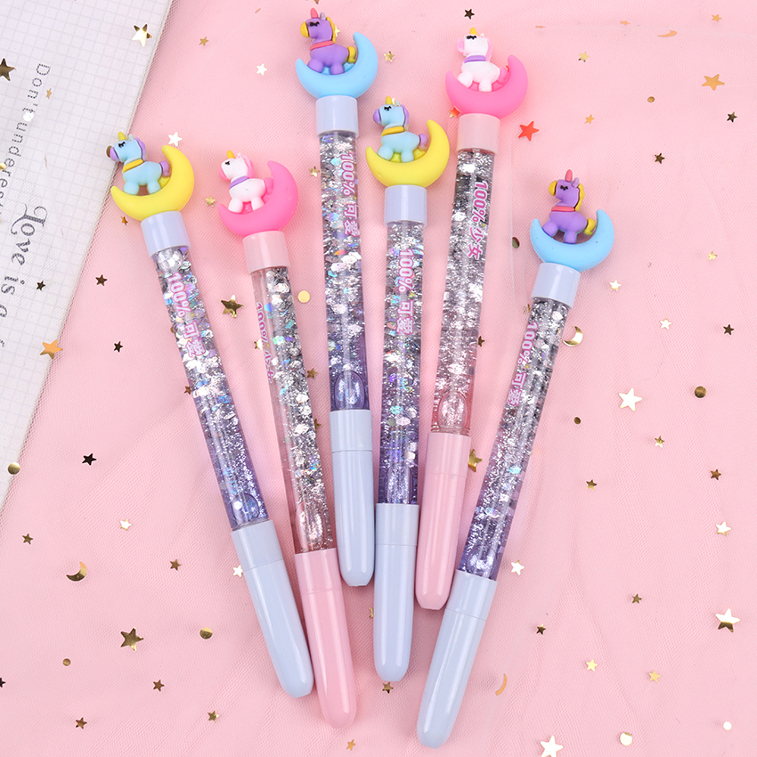 1PC Cartoon Unicorn Moon Gel Pen Black Ink Writting Pens Novelty Neutral Quicksand Pen Writing Girl Gift Office School Supply