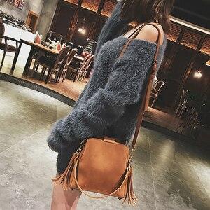 Image 2 - 2020 nova moda esfrega feminina balde saco do mensageiro do vintage borla bolsa de ombro retro alta qualidade simples crossbody saco tote