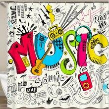 Занавеска для душа Cortina De sino музыкальная полоса Джаз Музыкальные инструменты для ванной комнаты занавеска рок танцевальный звук