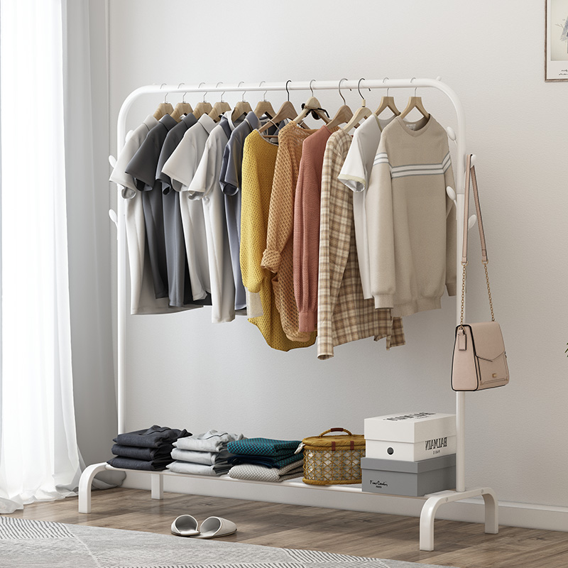 Coat Rack Assembly Bedroom Hanging Clothes Shoes Bags Organize Storage Shelf Wardrobe Cabides Para Roupa Drying Racks
