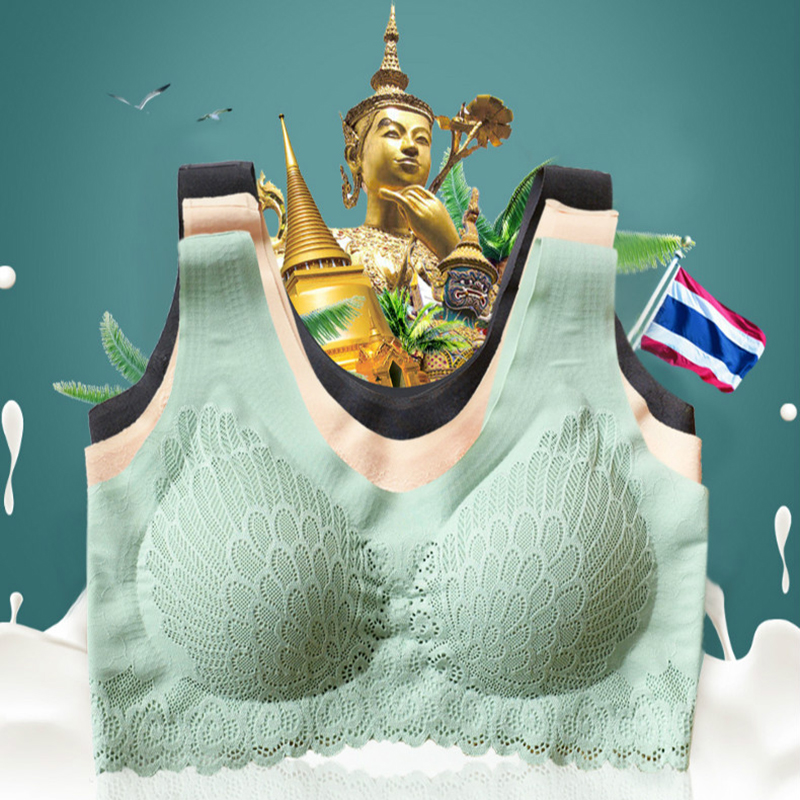 2020 Таиланд бесшовные латекс бюстгальтер нижнее белье 5D Беспроводной дышащие носочки с кружевами широкий плечевой ремень жилет нижнее бель...