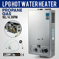 16l 가스 프로판 가스 온수 저장 온수기 승/샤워 헤드 자동차 보호