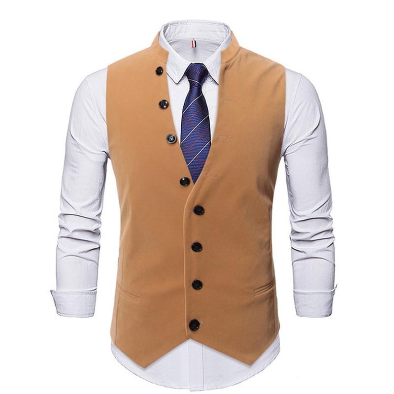 Men Vest Chalecos Para Hombre New Stand-up Collar Single-breasted Slim Gentleman Suit Vest Men's Business Casual Suit Vest