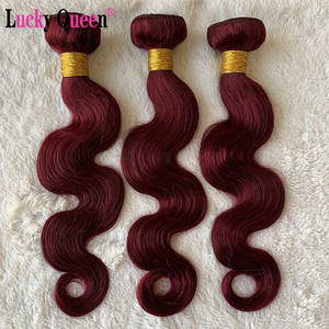 Image 5 - Lucky Queen Brazilian Body Weave Bundles 1b/Burgundy Honey Blonde Ombre Body Wave Non Remy 100% Human Hair Extensions