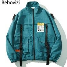 Bebovizi 2019 Men Pocket Windbreaker Coat Ribbon Jackets Hip Hop Harajuku Streetwear Hipster Swag Collarless Jacket Clothes