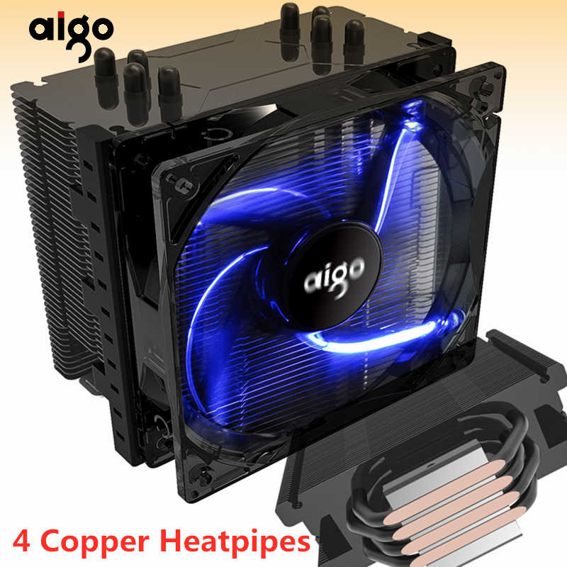 Aigo 120mm 4pin CPU fan CPU Koeler 4 Heatpipes CPU Koeler Radiator voor AMD Intel 775/115/ AM3/AM4 Blauwe LED Stille CPU koelventilator