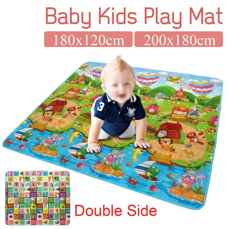 2Types Baby Play Mat Crawling Mat Double Surface Baby Carpet Rug Farm Pattern/Letter Fruit Puzzle Mat For Children Game Pad