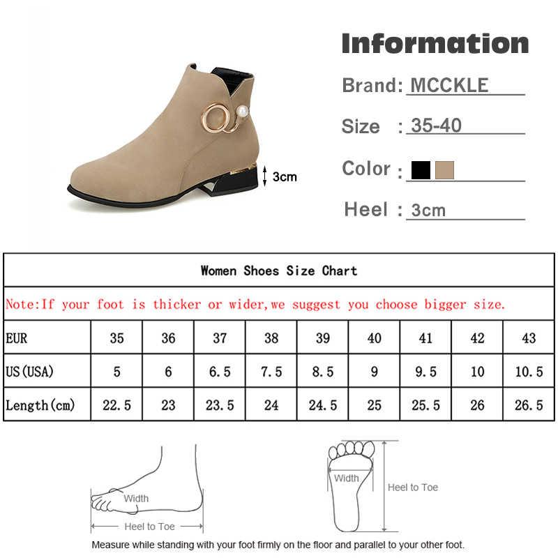 Kadın yarım çizmeler inci Zip rahat akın klasik kalın Med topuk çizmeler moda peluş sıcak kürk kış ayakkabı kadın ayakkabıları