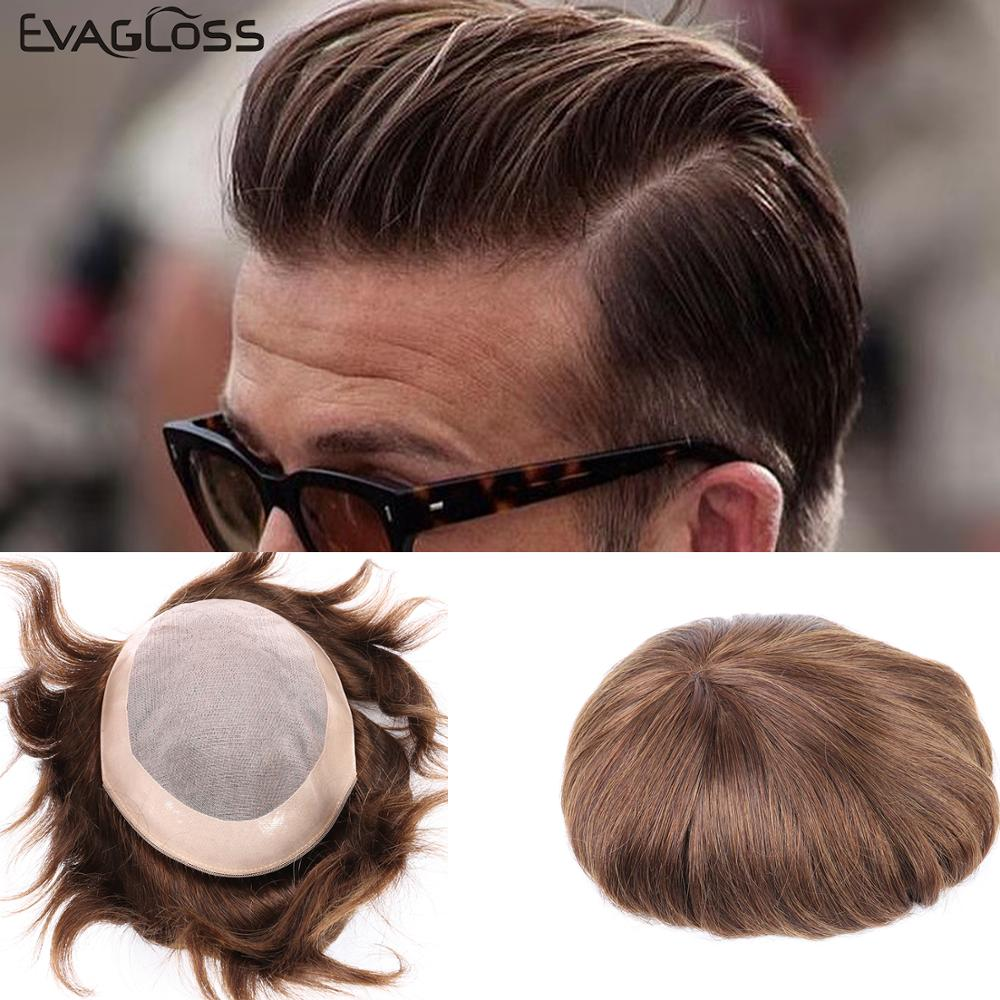 EVAGLOSS Men's Toupee Fine Mono Real India Remy Human Hair Mens Wig Durable Hair Replacements Hair Systems For Men