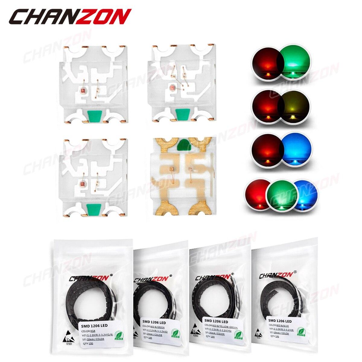100 шт. 1206 SMD светодиодные излучающие диоды, чип лампы, светильник вые бусины, красный, зеленый, желтый, синий, двухцветный RGB, многоцветный общи...
