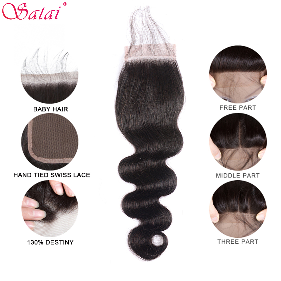 SATAI Body Wave Human Hair Bundles with Closure Natural Color 4 Bundles With Closure Brazilian Hair Weave Bundles Non-Remy Hair