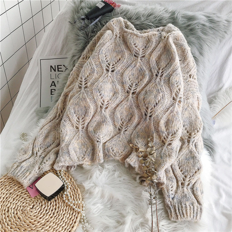Hollow Out Women Sweater And Pullovers 2019 Autumn Winter New Long Sleeved Loose Solid Knitted Thicken Warm Pulls Outwear Coats