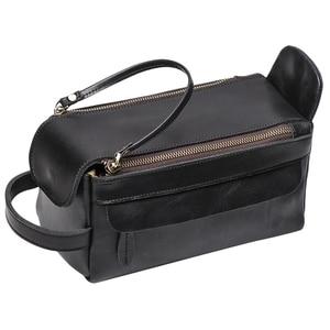 Vintage Leather Women Men Cosmetic Bag T