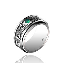 925 sterling silver Inlaid Chalcedony Buddhist Heart Sutra Rotatable Ring Buddha Heart Sutra Ring buddhist heart sutra ring real 925 sterling silver for men women buddha ring vintage jewelry