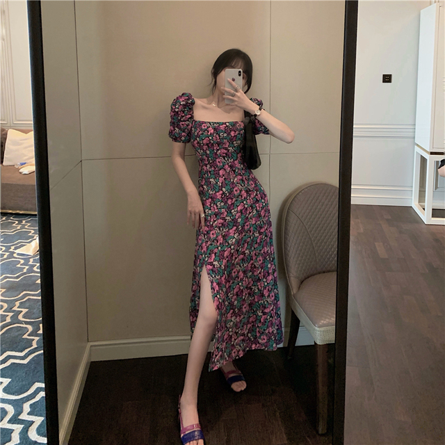 French Romance Retro Dresses Women Casual Floral Print Square Collar Dresses Ruffles Puff Sleeve Midi Dresses Lady
