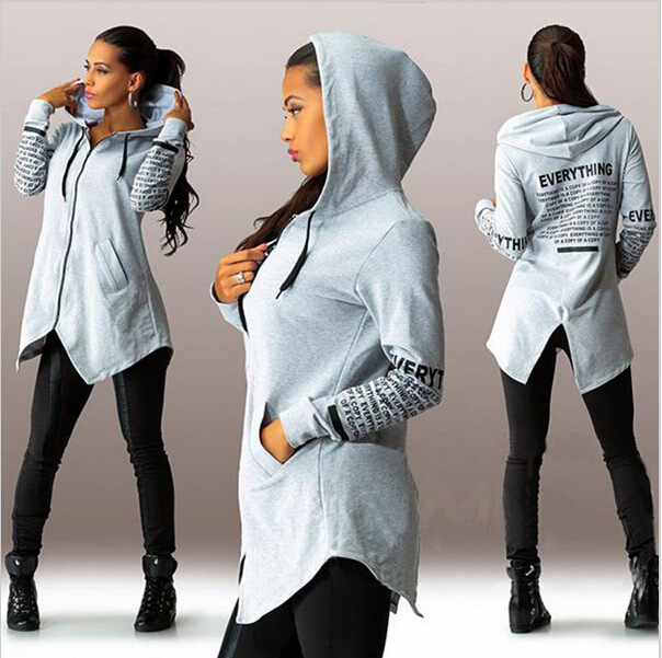 Womens Female Printed Autumn Winter Sweatshirts Hoodies Female Cotton Casual  Broadcloth Long Zip up Hooded Letter Print