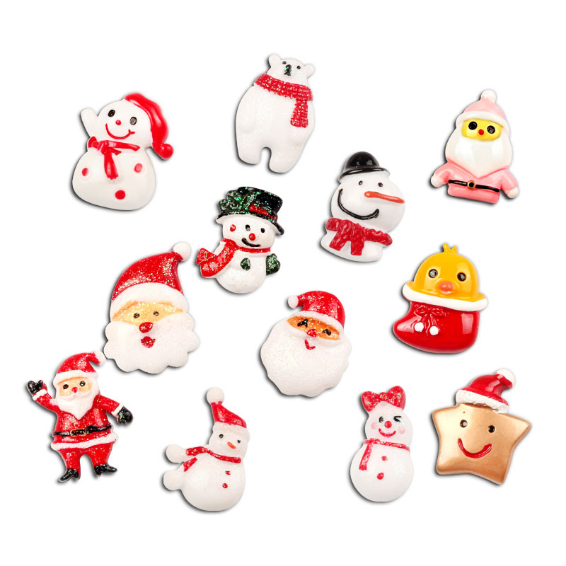 Lot 10pcs Christmas Snowman Resin Cabochons Flatbacks Scrapbooking Resin Crafts