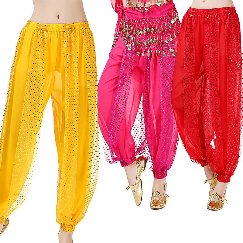 Belly Dance Sequin Lantern Pants Indian Dance Performance Pants Practice Pants Stage Performance Chiffon Pants