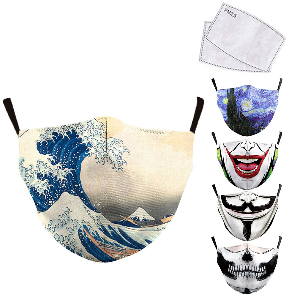 Classic Van Gogh Oil Draw Print Face Masks Mouth Adult Reusable Washable Fabric Mask Protective PM 2.5 Anti Dust Windproof Masks