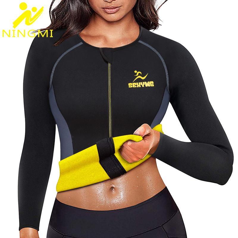 NINGMI Slimming Body Shaper Waist Trainer For Women Zipper Blouse Neoprene Sauna Vest Warming Shirt Long Sleeve Jacket Shapewear