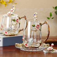 Glass cup saucer set color Enamel Coffee Cup tea Mug Alloy handle Glass Cups Hot and Cold Drinks mug Spoon with saucer beauty and novelty enamel coffee cup mug flower tea glass cups for hot and cold drinks tea cup spoon set perfect wedding gift