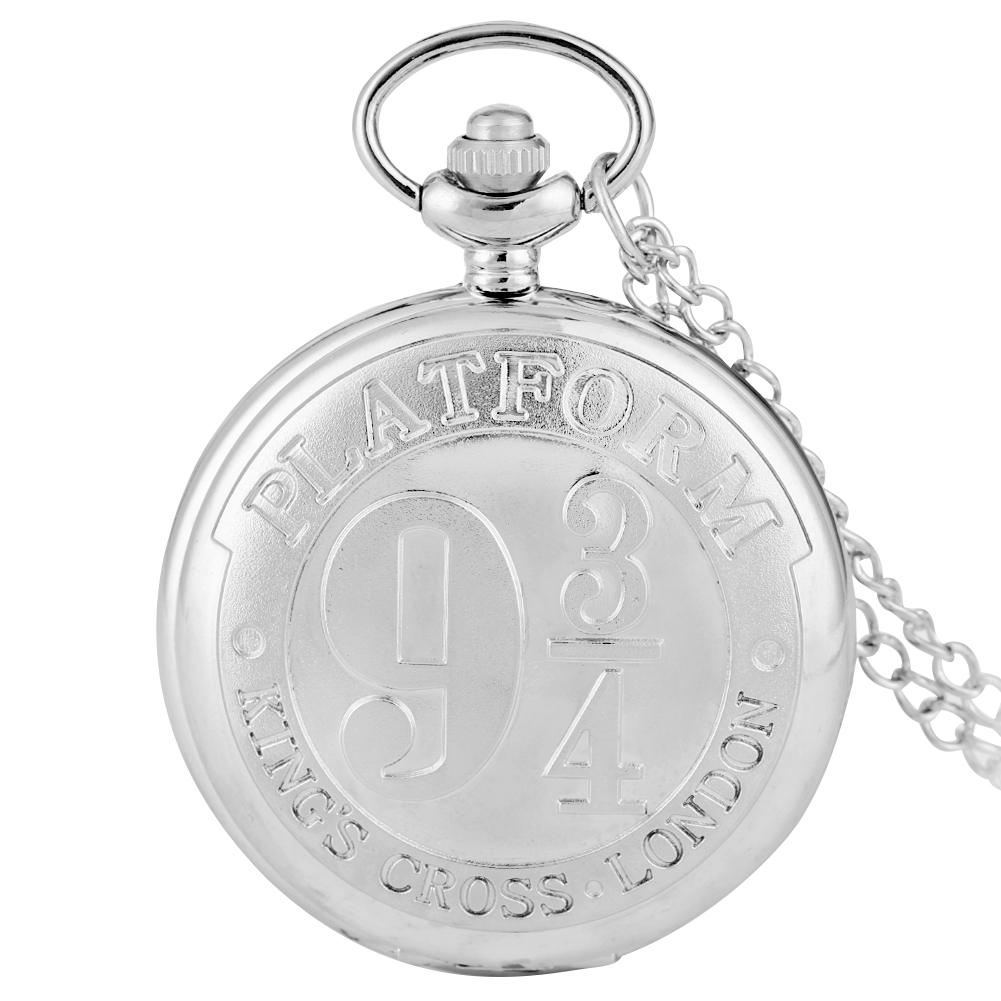 Stylish Silver Pocket Watch Boys Harry Accessory Platform Nine And Three Quarters Girls Utility Slim Chain Necklace Clock Teens