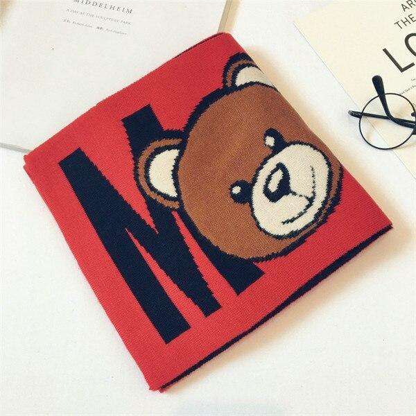 Корейская Клетчатая Шерстяная теплая осенне-зимняя одежда для мальчиков и девочек с рисунком медведя и надписями, шали, шарфы, аксессуары-LHC - Цвет: red(high-grad)