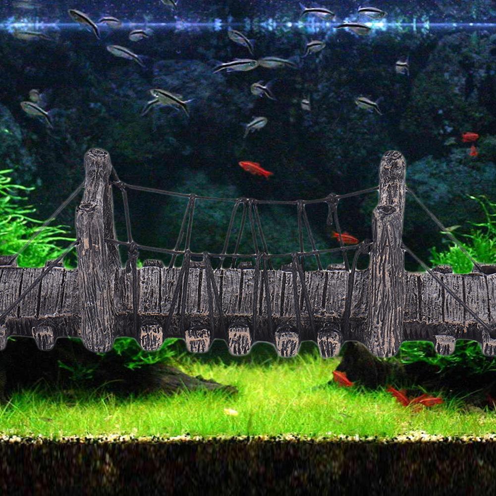 1pcs Imitation Bridge Decor for Aquarium Ornaments Fish Tank Landscape Wood Color Bridges