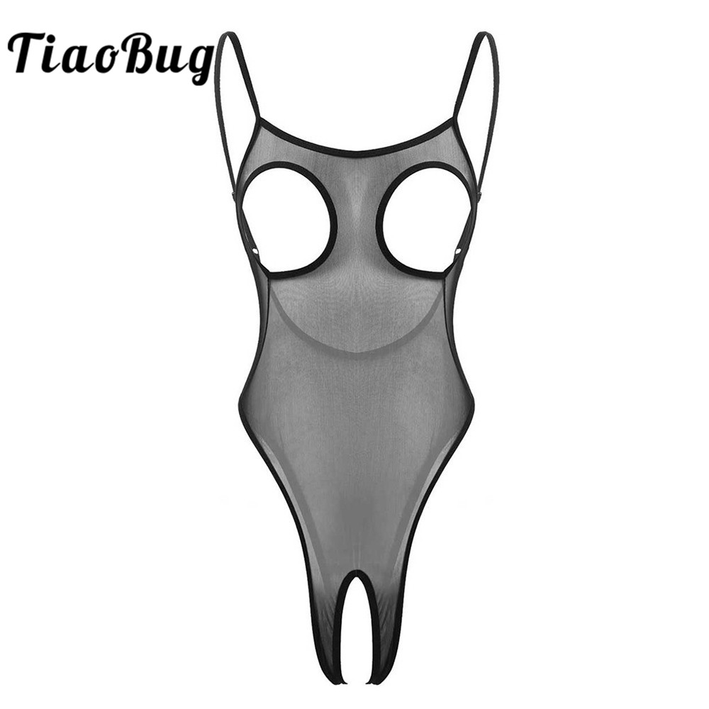 TiaoBug Women See Through Sheer Mesh Sexy Lingerie Adjustable Spaghetti Straps Open Cups Crotchless Bodysuit Erotic Underwear
