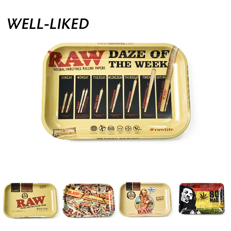 18*12.5 Cm Table Small Women Cigarette Joint Smoking Dish Metal Tin Tobacco Rolling Paper Tray Storage Drop Shipping