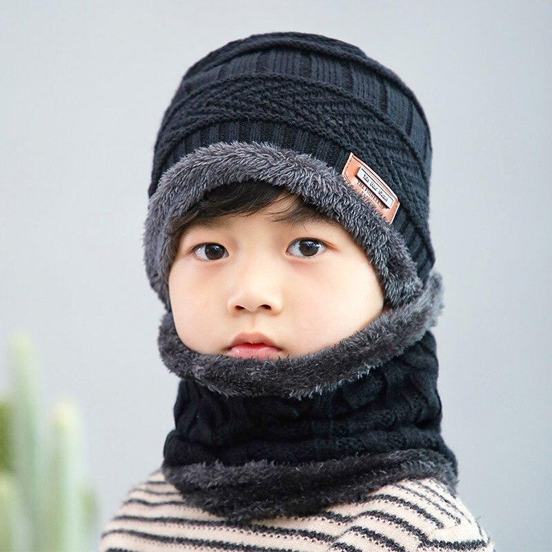 Новая модная Высококачественная зимняя детская вязаная шапка, шарф, комплект из 2 предметов, Детские утепленные бархатные шапочки, теплая шапка для мальчиков и девочек - Цвет: Black